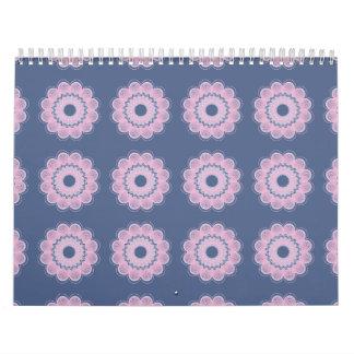 Púrpura del estampado de plores calendario