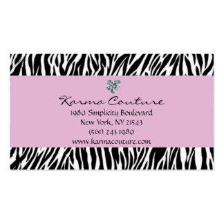 púrpura del estampado de zebra con el diamante en tarjetas de visita