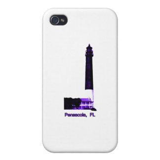 Púrpura del faro de Pensacola FL el MUSEO Zazzle iPhone 4 Funda