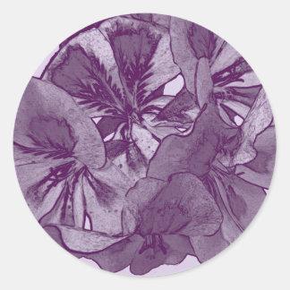 Púrpura del flor de la flor con Lavendar Pegatina Redonda