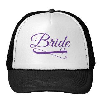 Púrpura del Flourish de la novia Gorros Bordados