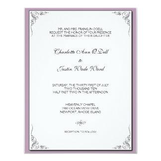 púrpura del flourish; el casarse invitación 10,8 x 13,9 cm