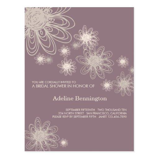 Púrpura del garabato de la flor • Ducha nupcial Postal