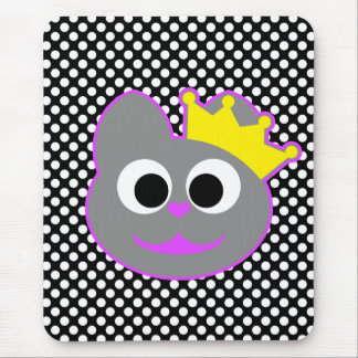Púrpura del gatito de la reina - gris mouse pads