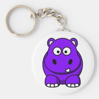 Púrpura del hipopótamo llavero redondo tipo pin