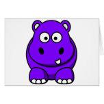 Púrpura del hipopótamo tarjeta de felicitación