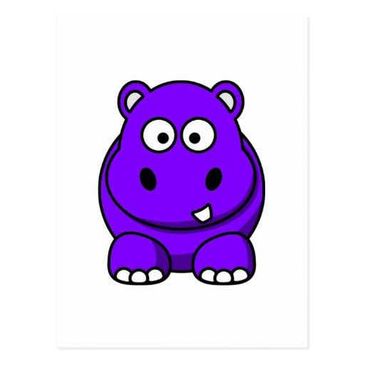 Púrpura del hipopótamo tarjeta postal