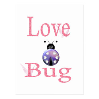 púrpura del insecto del amor tarjeta postal
