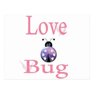 púrpura del insecto del amor tarjetas postales