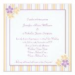 Púrpura del kitsch del país y boda de la raya del invitación 13,3 cm x 13,3cm
