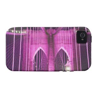 Púrpura del Lit del puente de Brooklyn iPhone 4/4S Fundas