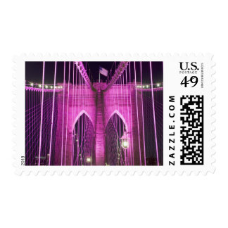 Púrpura del Lit del puente de Brooklyn Sello Postal