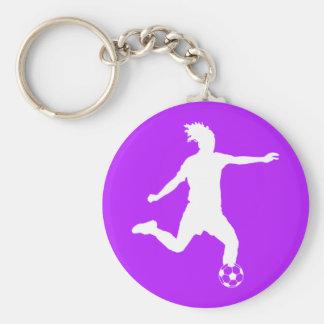 Púrpura del llavero de la silueta del fútbol