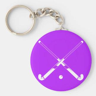 Púrpura del llavero de la silueta del hockey hierb