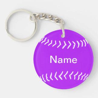 Púrpura del llavero de la silueta del softball