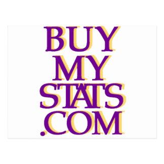 púrpura del logotipo de BuyMyStats.com 3D con la Postal