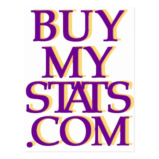 púrpura del logotipo de BuyMyStats.com 3D con la Tarjeta Postal