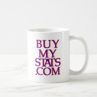 púrpura del logotipo de BuyMyStats.com 3D con la Taza De Café
