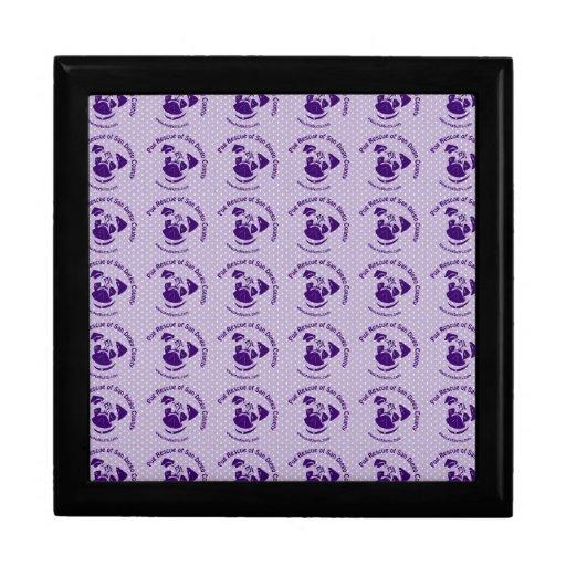 Púrpura del logotipo del rescate del barro amasado joyero cuadrado grande