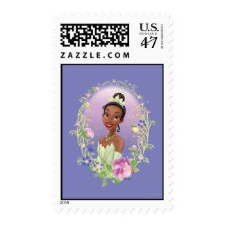 Púrpura del marco de la flor de Tiana Estampilla