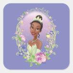 Púrpura del marco de la flor de Tiana Pegatina Cuadrada