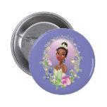 Púrpura del marco de la flor de Tiana Pin Redondo De 2 Pulgadas