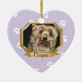 Púrpura del marco de la foto del mascota de las im ornamentos de navidad