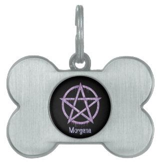 PÚRPURA del mascota de Wiccan personalizada Placas De Nombre De Mascota