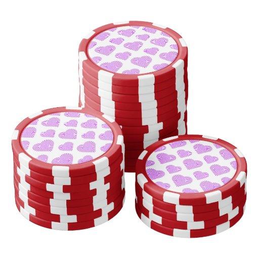 Púrpura del modelo 1 del corazón de la estrella fichas de póquer