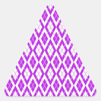Púrpura del modelo 2 de Argyle Pegatina Triangular