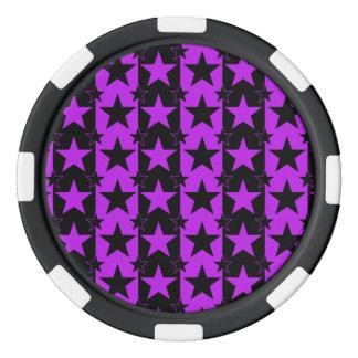 Púrpura del modelo de barras y estrellas 2 fichas de póquer