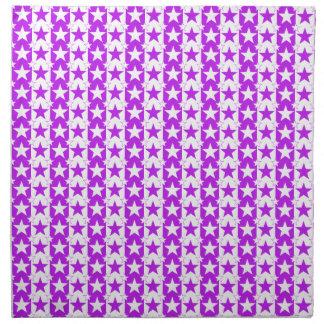 Púrpura del modelo de barras y estrellas 2 servilleta