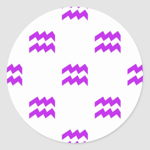 Púrpura del modelo del acuario pegatina redonda