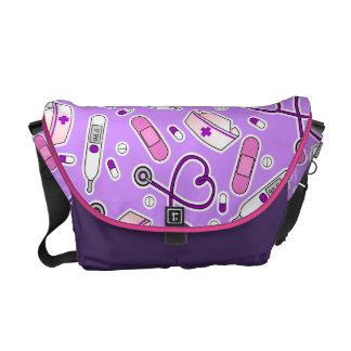 Púrpura del modelo del amor de la enfermera bolsa messenger