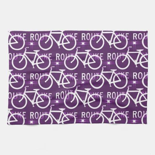 Púrpura del modelo del ciclista de la bici de Fixi Toallas De Mano