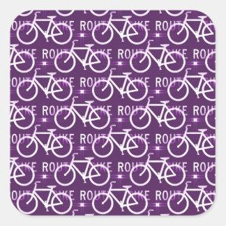 Púrpura del modelo del ciclista de la bici de pegatina cuadrada