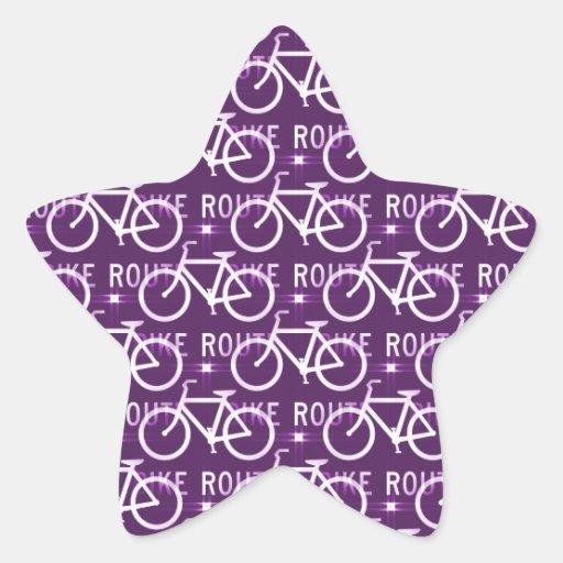 Púrpura del modelo del ciclista de la bici de pegatina en forma de estrella