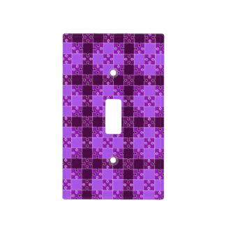 púrpura del modelo del rompecabezas cubierta para interruptor