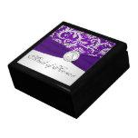 Púrpura del monograma, caja de plata de la baratij caja de joyas