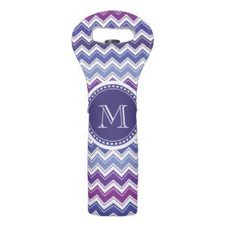 Púrpura del monograma de Chevron y blanco azules Bolsas Para Botella De Vino