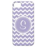 Púrpura del monograma de Chevron y blanco retros iPhone 5 Coberturas