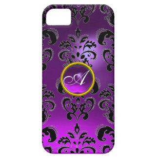 Púrpura del MONOGRAMA de la GEMA del DAMASCO iPhone 5 Funda