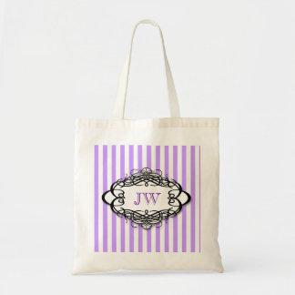 Púrpura del monograma del vintage de la raya del c bolsas