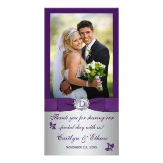 Púrpura del monograma tarjeta floral de plata de tarjeta personal