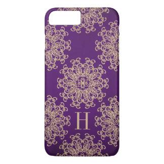 Púrpura del monograma y medallón exótico del oro funda iPhone 7 plus