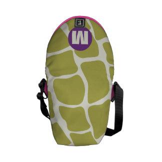 Púrpura del monograma y modelo de la jirafa de la bolsas de mensajería
