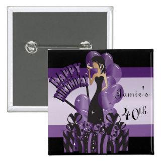 Púrpura del nombre el | del chica el | DIY de la Pin Cuadrado