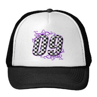 púrpura del número 09 el competir con auto gorra
