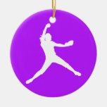 Púrpura del ornamento w/Name de Fastpitch Ornamento Para Arbol De Navidad