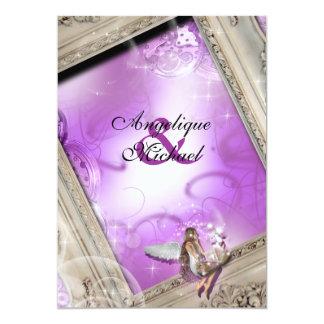 Púrpura del oro del boda del cuento de hadas invitación 12,7 x 17,8 cm